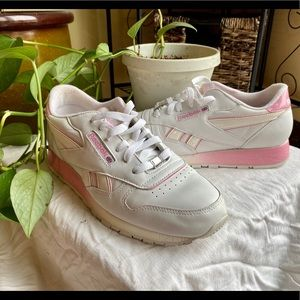 Classic Reebok pink and white.